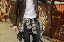 09 dark blue denim, a white tee, a checked shirt and a leather jacket