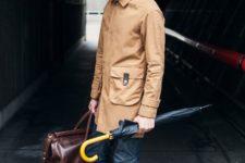 09 dark denim, an ocher coat and statement blue shoes