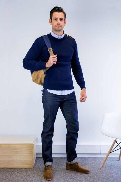 jeans, a navy sweater and a shirt, suede shoes