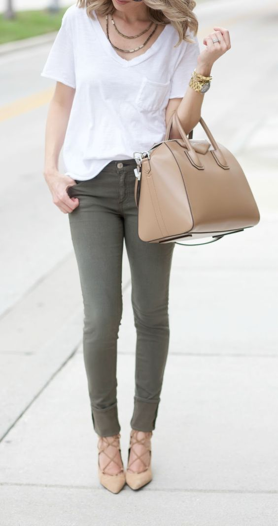 olive green jeans, a white t-shirt and nude heels