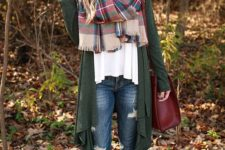 10 an oversized green cardigan, a white top and a plaid blanket scarf