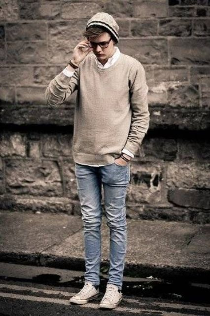 nude shirt with blie ripped jeans men