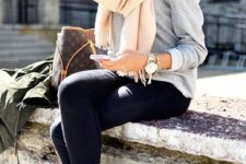 10 cream scarf, a grey knit, black jeans and animal printed loafers