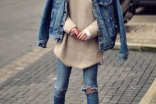 10 double denim look with an oversized nude sweater