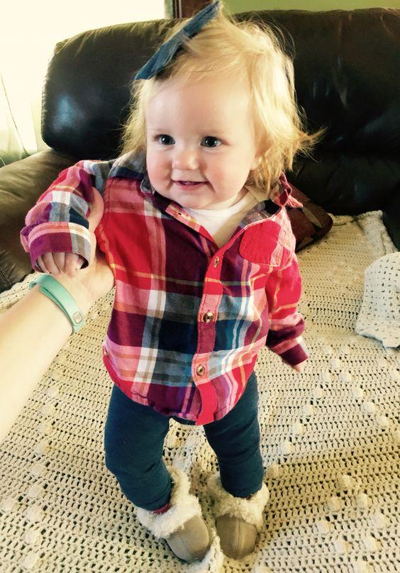 leggings, a plaid shirt, fur boots