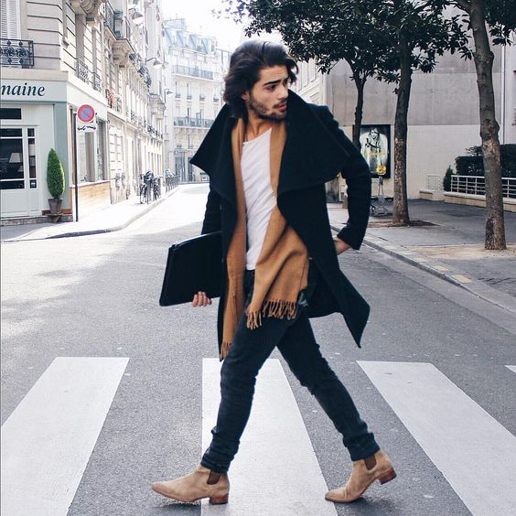 navy denim, a white tee, an ocher scarf and a black coat
