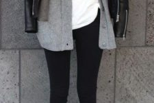 11 black leggings, a white tee, a grey cardigan and a black leather jacket