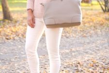11 blush sweater, white jeans and nude boots