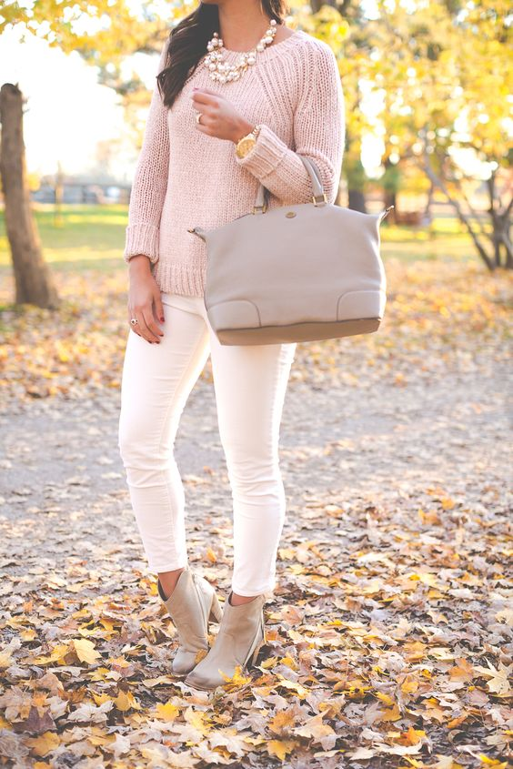 blush sweater, white jeans and nude boots
