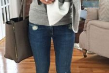 11 grey jersey, blue jeans, a checked scarf and brown ankle boots