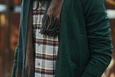 11 jeans, a plaid shirt, a green cardigan and a scarf