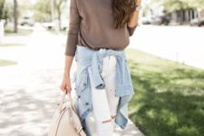 11 taupe top, white ripped jeans, white slip-ons and a blue jacket