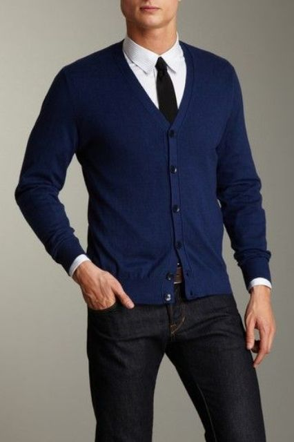 black denim, a navy cardigan and a white shirt