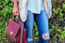 12 distressed jeans, a fur vest, a blouse, rockstud flats