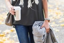 12 grey tee, blue jeans, a white fringe scarf