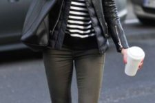 12 olive green trousers, a striped jersey, black suede boots