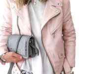 13 a cute pink leather moto jacket, blue jeans and a white lace top