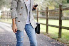 13 embellished denim, boy blazer, converse sneakers