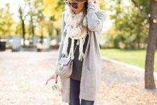 13 jeans, a light grey cardigan and a white fringe scarf