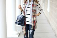 13 jeans, a striped jersey, a plaid scarf, a quilted vest and red rain boots