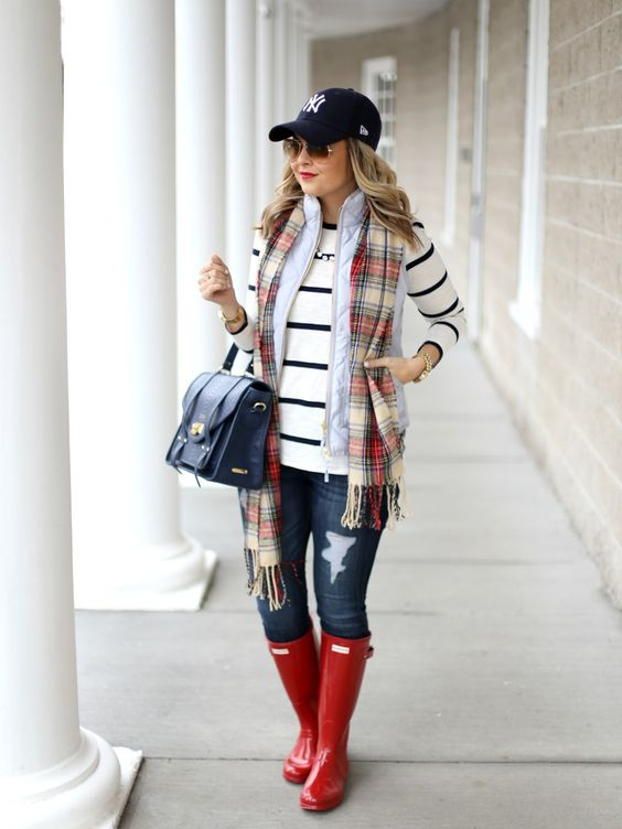 Picture Of Jeans A Striped Jersey A Plaid Scarf A Quilted Vest And Red Rain Boots