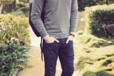 13 navy jeans, a grey jersey, a shirt and brown suede shoes