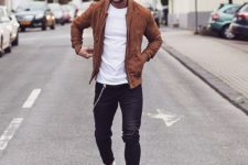 13 navy jeans, a white tee, an amber leather jacket and white chucks (great casual work outfit)