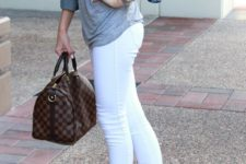 13 white jeans, a grey tee, grey suede ankle boots, cropped jacket