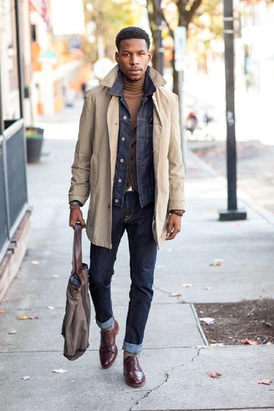 dark denim, a turtleneck,burgundy boots and a cream jacket