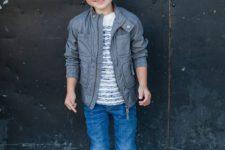 14 jeans, a printed t-shirt, a moto jacket, white Converse