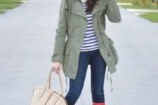 14 jeans, a striped tee, an olive green jacket and red rain boots