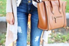 14 jeans, a white top, a grey long cardigan and tan boots