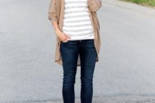 14 navy jeans, a striped shirt, a tan cardigan and boots