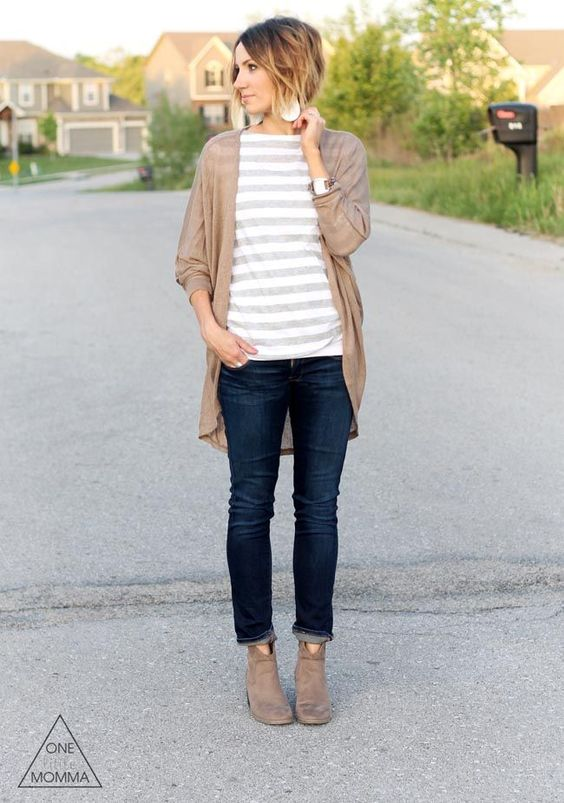 navy jeans, a striped shirt, a tan cardigan and boots