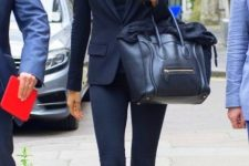14 navy jeans, top, blazer and bag with nude pumps