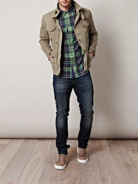 navy skinnies, a plaid shirt, an olive military jacket and brown chucks