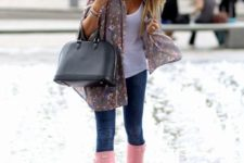 15 jeans, a white top, a floral shawl and pink rain boots