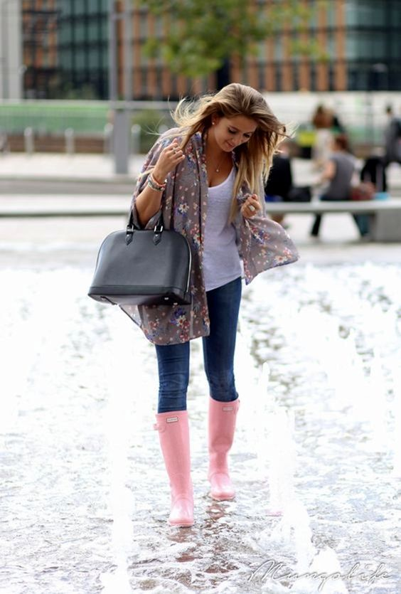 jeans, a white top, a floral shawl and pink rain boots