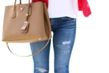 15 jeans,a  white top, a red jacket and nude heels