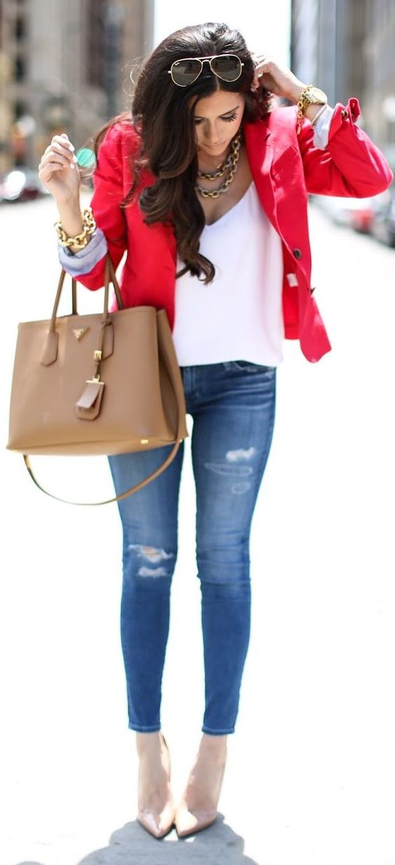 jeans,a  white top, a red jacket and nude heels