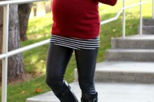 15 leather leggings, a red turtle neck sweater and black boots