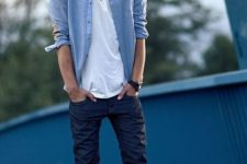 15 navy jeans, a white tee, a denim overshirt and white sneakers