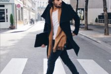 15 navy skinnies, a white tee, an ocher scarf and boots, a black coat