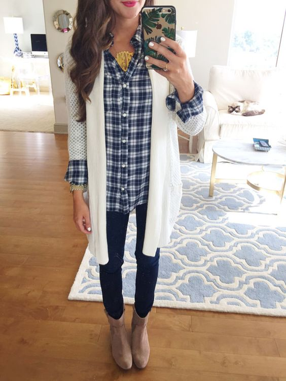 open cardigan, a plaid shirt, dark denim and boots