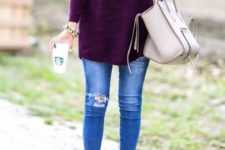 15 purple sweater, blue jeans, nude ankle boots