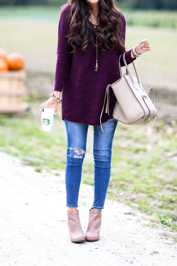 purple sweater, blue jeans, nude ankle boots