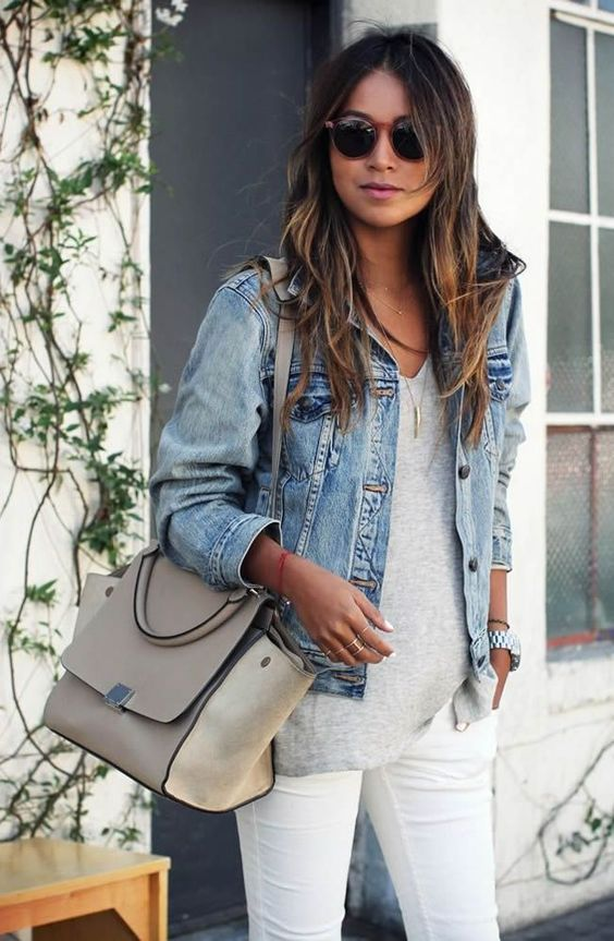 white jeans, a grey tee and a cropped denim jacket