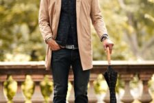 16 jeans, a quilted vest, a peach trenchcoat and brown shoes
