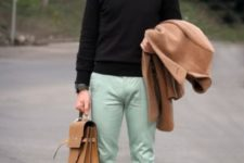 16 mint trousers, a black sweater and tie, a camel coat