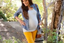 16 mustard trousers, a striped shirt, nude boots and a chambray shirt